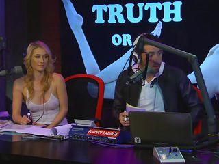 The hosts at today`s show are three sexy girls who can even make the mirror gealous! They are playing Truth or Dare. The first one has to take off a piece of clothing and she goes for her skirt. The other bitches reveal some of their most darkest stories. Want to find out their favourite car sex positions?