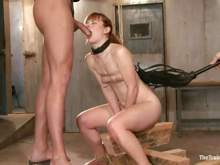 Stupid bitch Claire with a collar likes having her ass being totally dominated with a dildo by her horny master. She stays on her knees on a table and gets also her pussy fingered, feeling so great. She is thankful for all these and ready to cum. First, she has to suck a dick while sitting on a dildo!