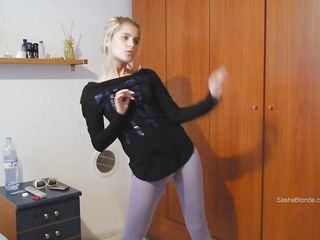 This sexy teen is trailing her new outfit and feels sexy in it. She wants to have a quick sexual pleasure. No one around her? So what? Watch how she is dancing and taking off all her clothes one by one! This naughty girl knows how to get pleased all by herself. Let's see how she is gonna do it!