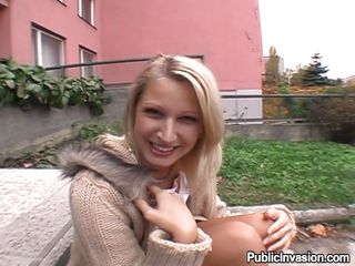 She is sitting on the bench and is playing with her pussy when the man walks up to her and puts his finger in her mouth it does not take much time before he replaces his finger with his big dick in her mouth as she gives him a blowjob she is just about ready to do anything to feel the cock inside her
