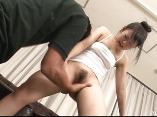 Check out this little asian girl named Yayoi, she's a fucking whore! First we finger and rub her pussy with a vibrator and then she kneels for some sucking action. The brunette cunt takes care of two hard dicks and wants some more. Maybe if she will be a good girl and make these two cum she will get some more