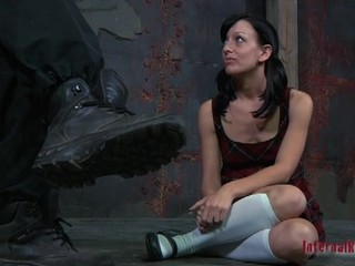 Clamped up beauty gets her fuck holes tortured