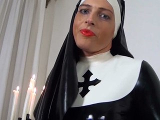 Slutty latex nun ill feeling her kinky latex dress