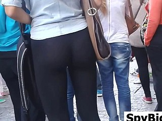Great Ass In Dismal Leggings Spied On