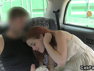 Red haired babe needs a cock in a wheels