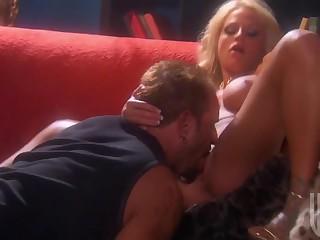 Busty Blonde Milf Swallows A Fat Sperm Launcher