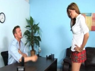 horny Sexy brunette teen riding the school dean