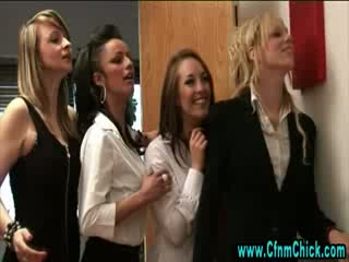 Dirty cfnm schoolgirls get hot