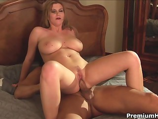 Delicious big breasted blonde Sara Stone gets the morning started with hardcore sex in the bedroom. She gets vigorously fucked by horny macho that can't get enough.