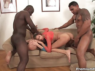 Kitty Jane and Olga Berz both go crazy about black cocks. There are two dicks for them. They take black rods in their mouths. pussies and assholes before their dark skinned fuck buddies cum.