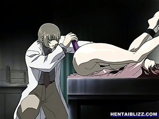 Bondage hentai nurse gets shoving dildo by doctor
