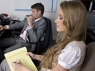 Long haired blondie seducing her boss