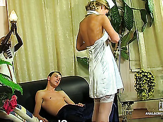 Sluttish nurse going from shoulder massage to butt-splitting anal hardcore