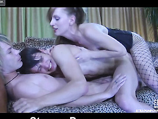 Wild bisexual action with two guys taking ding-dong abase from a bossy chick