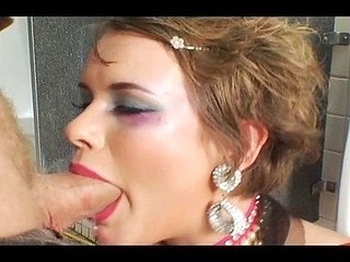 Brunette gives head and spreads wide to get her ass drilled