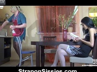 Sissified maid getting her hose pushed down for a strap-on wazoo fuck