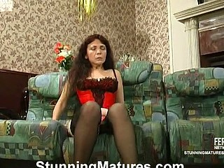 Aged mistress in sexy underware teaching a exposed dong-strong guy to behave