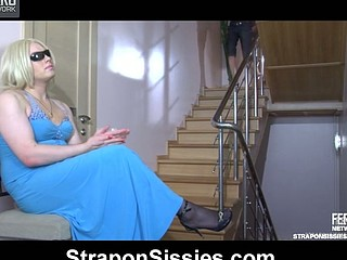 Clad in a lengthy evening dress sissy swaps roles with a ding-dong-on armed beauty