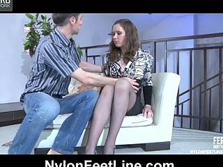 Office playgirl gets her sexy stockinged feet massaged in advance of a raunchy quickie