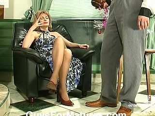 Raunchy mamma falling a sufferer of younger waiter