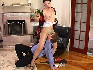 Cutie enticing policeman from his chores teasing with her sexy hose