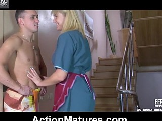 Golden-Haired aged maid gets her petticoat hiked up for cowgirl and doggie riding