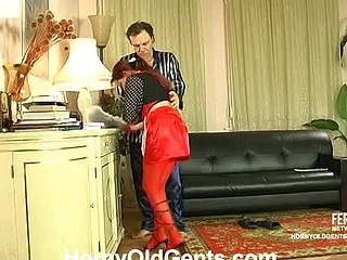 Doing her chores youthful French maid teasing older male up to steamy