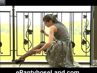 Beautifully dressed angel rams a large sex-toy thru her gorgeous fashion tights