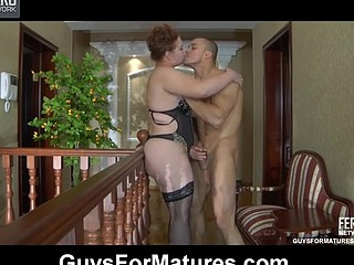 Crummy mommy bares her melons and touches her muff luring a stud into a fuck