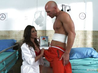 Look at this hot doctor taking care of Johnny Sins that seems to be hurt. Look at her how hot she looks in red and how much she loves having a big hard cock between her juicy lips. She sure knows how to take care of her patients and she sure knows how to suck cock. Is he going to cum in her mouth?