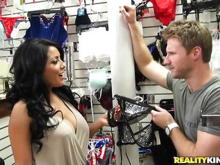 Watch Kiara Mia getting marked by the milf fucker from the ladies undergarments shop. She was talking with that guy and asked to help her out with the trials of few dresses. This sexy brunette lady came out in sexy dresses and showed her everything one by one to excite the guy more. Let's see where this goes!