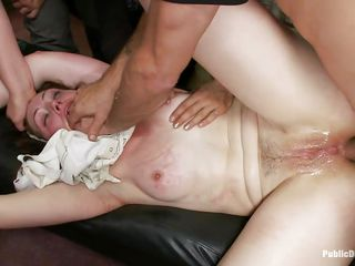 Sarah Shevon is a gorgeous brunette milf with a bald pussy and big natural tits who likes being handcuffed and disgraced in public places. Lorelei Lee is there to punish her for all the bad things she had done. Mr Pete takes out his cock and fucks her asshole roughly to absolve her of all her sins.