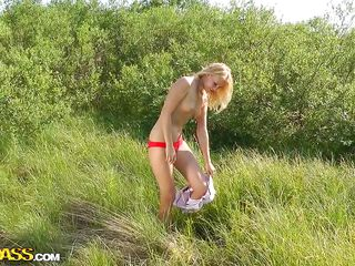When I saw this blonde beauty taking off her white pants and then her red sexy panties I thought that I am the luckiest man in the world. My luck didn't left me because that was only the begging! She stayed on her knees and gave me one hell of a blowjob right there before offering something really special!