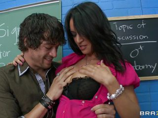 Xander Corvus is alone with the teacher Franceska Jaimes, she doesn't want him to keep doing what he's doing, but it feels too good to stop. She's getting those huge tits squeezed and sucked on. She's torn between what feels good and her job. Hope she doesn't get caught......