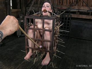 That's what she deserves for being a fucking whore. Brunette milf Dixon is now in a small bondage cage and her mistress shows her no mercy as she uses her devilish skills to torment her. Dixon is in pain but she will have to endure a lot more. Curious what? The watch some more and delight yourself!
