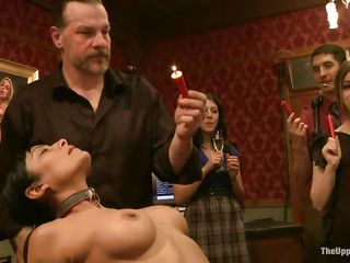 Dylan Ryan and Berreta James are two hot milfs who enjoy being treated like slaves. The sweet sex divas love having their hands tied behind their back. They feel the pleasure and pain of the punishment that is applied by the guys in the room. Being waxed by lighted candles makes them moan with pleasure.