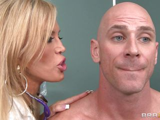 Johnny Sins is not feeling well so he goes to Dr. Amber Lynn to check things out. amber is a beautiful, experienced 50 year old blonde goddess. She sucks his cock and gives him a great tit fuck to make him feel much better.