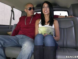 She has that dark hair and pretty face that can make a guy's cock hard instantly. After she got in the bus, with some sweet talk and patients, this cutie gets naked and down on her knees. She sucks the bald dude's hard dick like a pro, filling her pretty mouth with it and giving a few lustful looks.