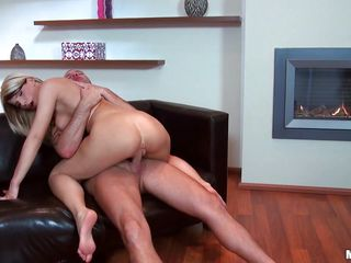 Look at this horny blonde with a big ass and hot tits riding that guys hard cock. You can see how much she enjoys having it inside of her only by the way she moans of pleasure when she jumps on it. After that she gets off and starts sucking his hard penis. Is he going to cum inside of her?