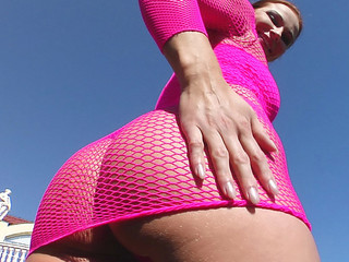 The round bubble butt of Jasmin stretched out a sexy set of pink body fishnets. Her anal opening gapes as two guys pound her little poop discharge. This Babe gets a massive triple facial.