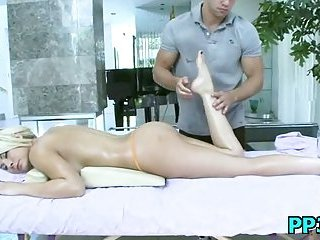 Flexible blonde slut getting fucked deep