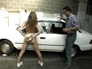 Slut fucked in the car wash