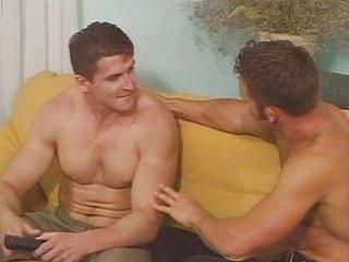 Hot gay couple fucking on sofa