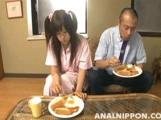 Cute Pigtailed Asian Fucking After Breakfast