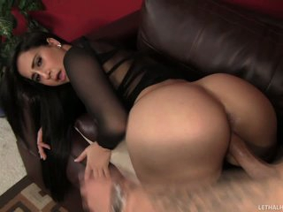 Just take a look at Valerie Kay's beautiful big ass and juicy pussy. Latina in black shows her assets and then takes man meat in her thirsty pussy. Lucky Chris Strokes stuffs her juicy pussy doggy style.