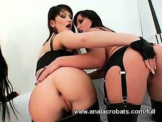 Group lesbian anal orgy