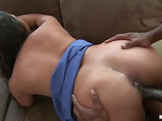 Hot blooded latina Adriana Luna gets boned by black guy