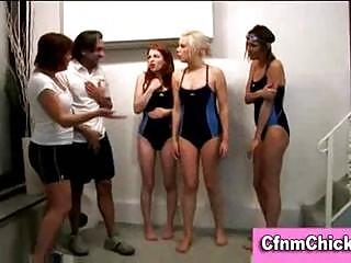 British cfnm femdom ladies give guy handjob