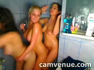 Steamy triple lesbo shower fun in college dorm on webcam