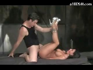 Busty Girl With Tied Legs Getting Her Pussy Tits Mouth Fucked On The Bed In The Dungeon